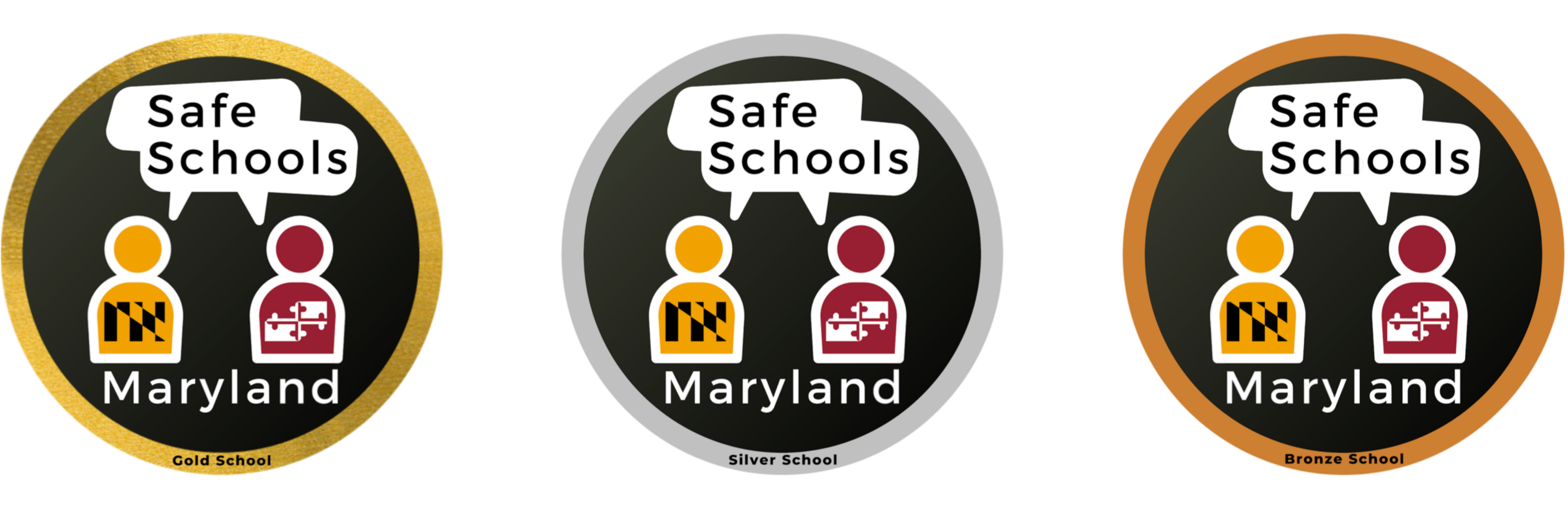 Gold, Silver, and Bronze Safe Schools Maryland Award Seals