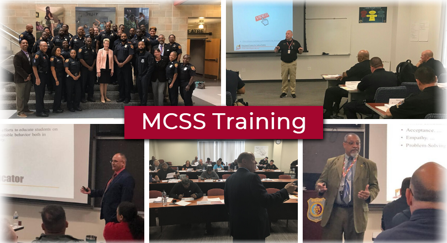 Five photos. 1 photo is a class posing for a picture with Dr. Karen Salmon, 4 photos show MCSS staff presenting. MCSS Training.